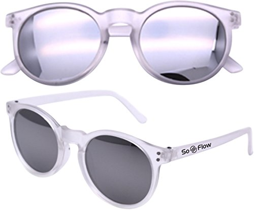 SoFlow Silver Kids Mirror Sunglasses (4 Colors) Unisex for Girls & Boys - Mirrored Lens (Silver/Gray Lens & Frost Frame) (Sunglasses Gray Silver Mirror)