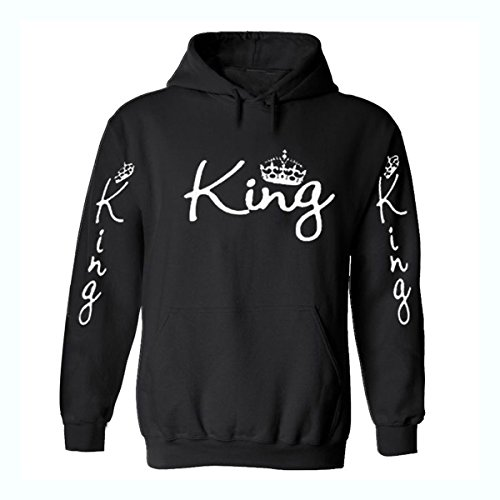 testMen Women Hoodies Sweatshirts Casual Long Sleeve King Printing Hooded Sweater Loose Tops Shirt for Autumn Winter Size M by UNOMOR