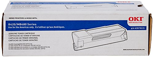Black Toner Cart for MB480 Mfp B420 Printers Only 12K Page Yield -  Okidata, 43979215