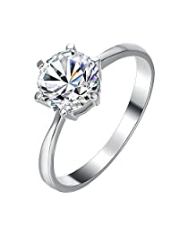 2CT Engagement CZ Rings for Women Platinum Plated Shining Rhinestone Promise Rings Jewelry Gifts