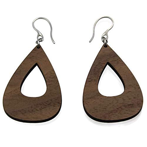 - Walnut Hollow Teardrop Wooden Dangle Earrings for Women by Arthlin