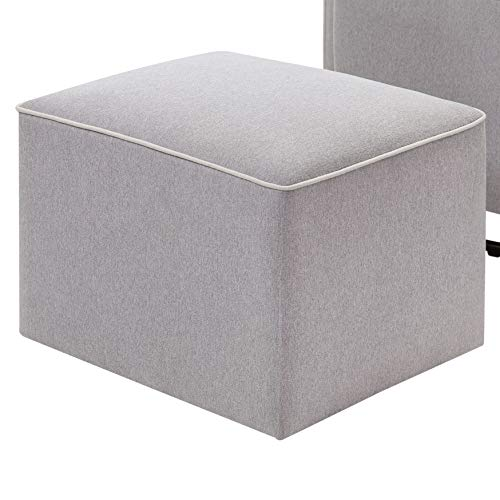 41TmInUVqsL - DaVinci Olive Upholstered Swivel Glider With Bonus Ottoman In Grey With Cream Piping, Greenguard Gold Certified