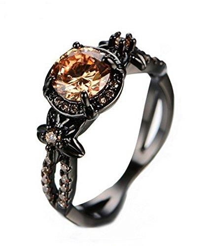 Price comparison product image Fortonatori Champagne Ring Black Gold Filled Plated Floral Engagement Promise Vintage CZ (8)