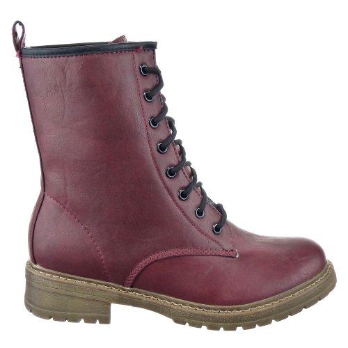 Sopily - Zapatillas de Moda Botines Botas militares Media pierna mujer Talón Tacón ancho 3.5 CM - plantilla textil - Rojo