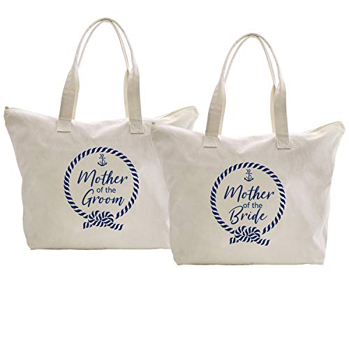 ElegantPark Mother of the Bride/Groom Tote Nautical Anchor Wedding Bachelorette Gifts Shoulder Bags with Zipper Interior Pocket Cotton 2 Pcs