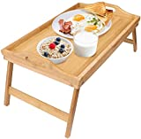 Home-Neat Bamboo Breakfast Bed Tray with Handle Foldable Legs