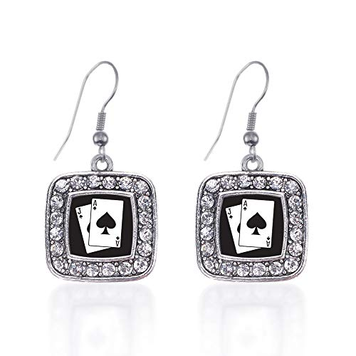 Inspired Silver - Blackjack Charm Earrings for Women - Silver Square Charm French Hook Drop Earrings with Cubic Zirconia Jewelry