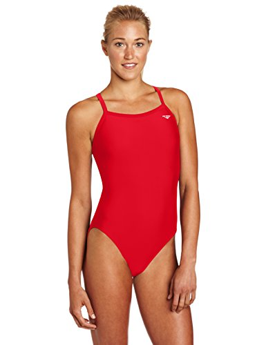 The Finals Women's Xtra Life Lycra Solid Butterfly Back Swimsuit, Red, 24