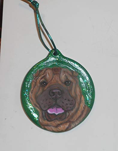 Shar Pei Dog Dog Christmas Ornament Custom Hand Painted
