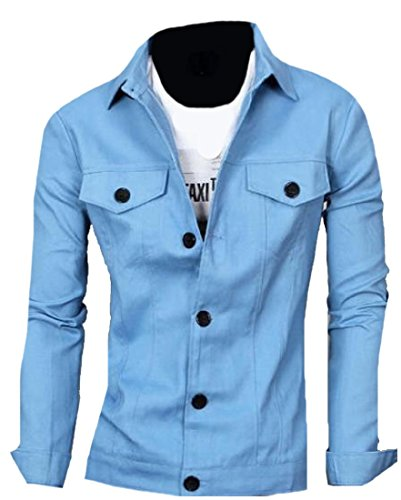 Trim Mens Sleeve Long Sky Mogogo Lounge Outwear Fit Blue Original Pocket ZqB6fw0
