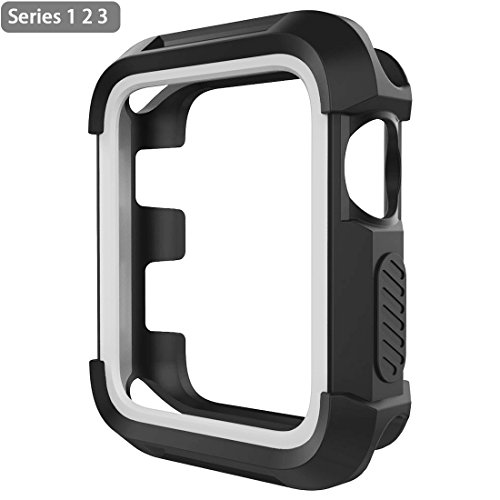 Apple Watch Case 42mm Rugged Shock Proof iwatch Bumper Cover Scratch Resistant Screen Protector Case for iwatch Series 3 Series 2 Series 1 Black/Gray