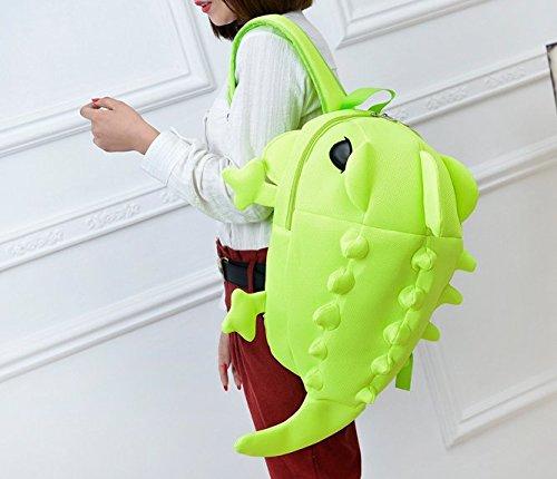 para dibujos libro Cute Verde bolsa mochilas mochila monstruo Mochila mochila 3D animados adolescentes dinosaurio 0qqxdzS
