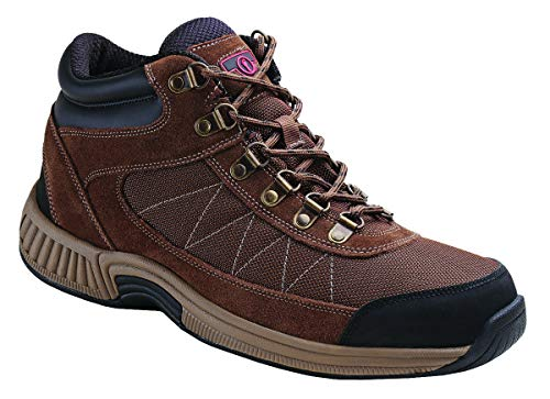 Orthofeet Plantar Fasciitis Pain Relief Arch Support Orthopedic Diabetic Arthritis Men's High Top Boots Hunter Brown