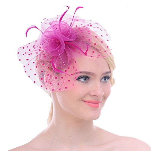 Fascinators Sinamay Hats for Women for Tea Party Kentucky Derby Wedding Cocktail Mesh Feathers Hair Clip Fuschia -
