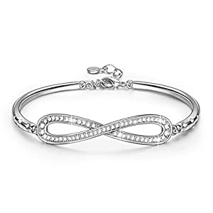 "LADY COLOUR ""Endless Love"" Infinity White Gold Plated Bangle Bracelets Made with SWAROVSKI Crystals 6.7"" + 1.25"" Extender"