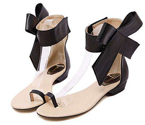 Out Toe Bowknot Antiskid Womens Hollow Split Black Ring Stylish Sandals Flat Covered Velcro Aisun Heels Shoes dIw8YSqq