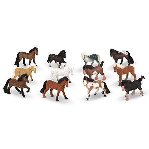 Melissa & Doug Pasture Pals - 12 Collectible Horses with Wooden Barn-Shaped -