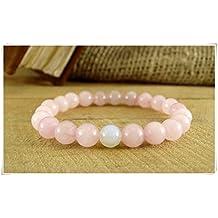 Moonstone Bracelet Beaded Bracelet,Rose Quartz Bracelet, Womens Gift Fertility Bracelet Gift for Girl Quartz Jewelry