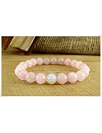 Moonstone Bracelet Beaded Bracelet,Rose Quartz Bracelet, Womens Gift Fertility Bracelet Gift for Girl Quartz Jewelry