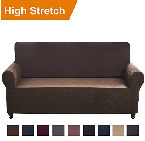Chelzen Stretch Sofa Covers 1-Piece Polyester Spandex Fabric Living Room Couch Slipcovers (Sofa, Dark (Large One Piece)