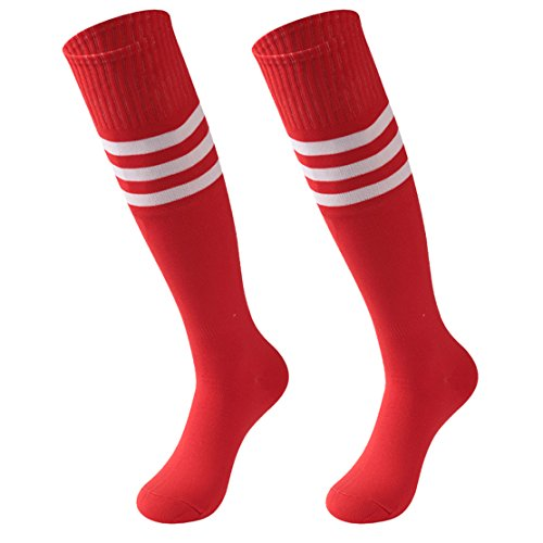 Socks Daze Unisex Knee High Stripe Football Soccer Sports Performance Tube Boots Socks 2 Pack Red&White - Sport Winter Socks Stripe