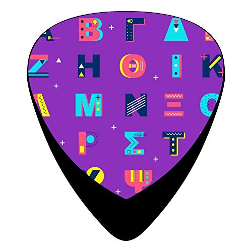 Greek Alphabet Guitar Picks Celluloid Plectrum Paddles 12 Pack For Musician Acoustic Mandolin Bass