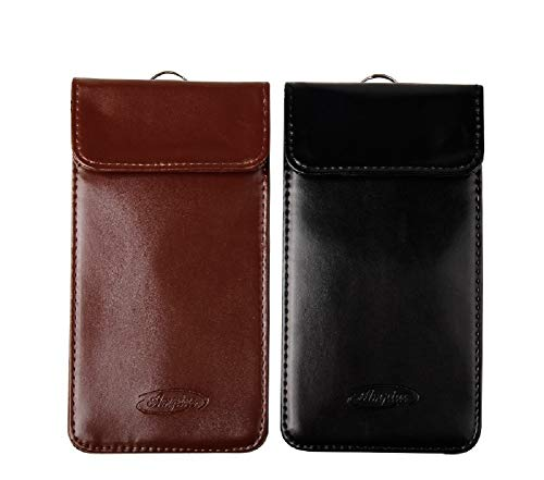 (Set of 2 x Large PU Leather RFID Signal Blocking pouch bag wallet case, Car Keyfob Keyless entry blocker, Antitheft protection device with multiple pockets, Mobile phone, GPS, Credit Cards, WIFI, GSM,)