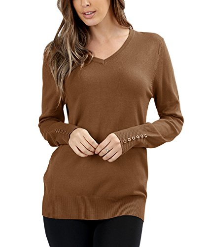 Eurivicy Womens V Neck Sweater Knitted Ribbed Pullover Basic Long Sleeve Winter Sweaters