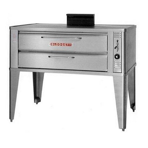 Small Gas Pizza Deck Oven - One 911P Base Section With 27-1/2 Inch Black Adjustable Legs, Stainless Steel Draft Diverter Or Draft Hood And Small Crown Angle Trim -- 1 Each. by BLODGETT
