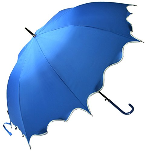 Kung Fu Smith Women Auto Open London Paris UV Protection Rain Sun Stick Ruffled Golf Umbrella Blue