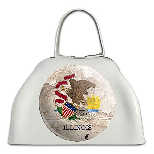 Bell Illinois (Rustic Illinois State Flag Distressed USA White Metal Cowbell Cow Bell Instrument)