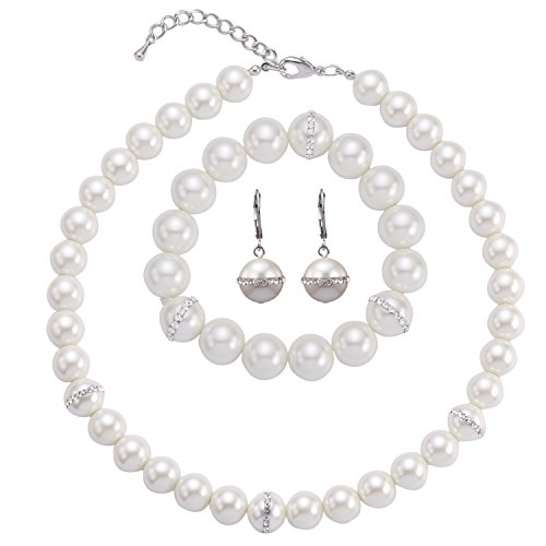 LILIE&WHITE Glass Pearl Jewelry Set for Bride with Necklace Earrings Bracelet in Rhinestone Ivory