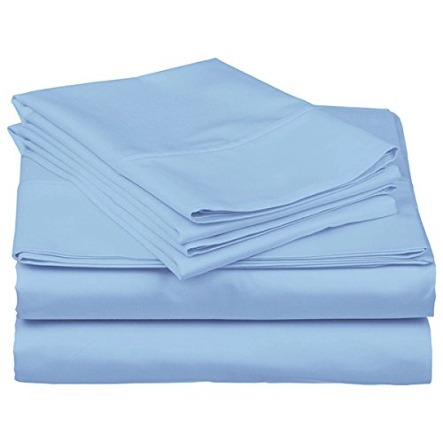 100% Cotton 500 Thread Count Soft Luxurious 4 Piece Bed Sheet Set - Durable - Long Lasting - Easy Care and Hypoallergenic (Full, Sky Blue) price
