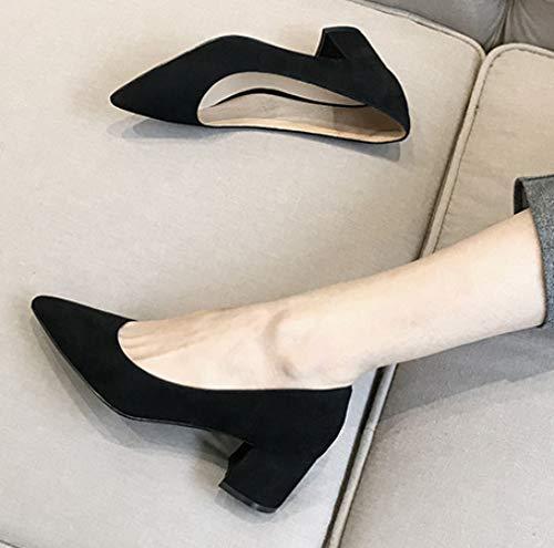Court Talons Chaussures Femmes de avec Talons Unie de Pointues 431 Couleur Orteils Daim Blocage HfUUxa6n