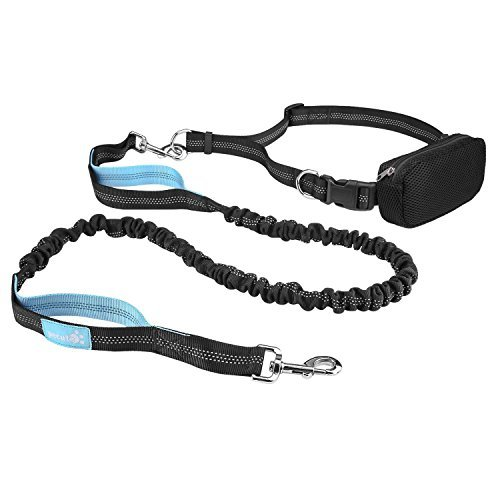 """Pecute Hands Free Dog Leash Double Handle Leash with Zipper Pouch -Extendable Bungee with Reflective Stitching - Detachable Waist Belt up to 48"""" Waist - for Jogging, Running, Hiking (Black + Blue)"""