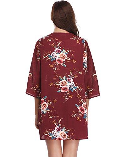 Femme L Fleur Veste Kimono Fluide Gilet Cardigan fxn4qvA5F