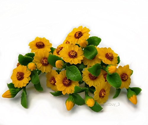The Best Buy Set of 8 Dollhouse Miniature Fariy Garden Sunflower Bouquet Plant Set-A