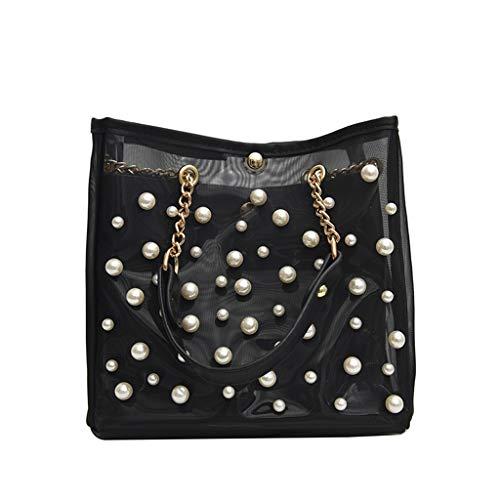 Shoulder Bags for Women,SIN+MON Woman's New Transparent Pearl 2PC Chain Bag Crossbody Bags Totes Bag Fashion Messenger Bag