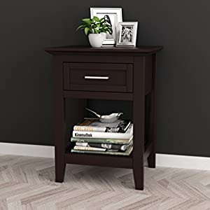 Espresso Finish Modern Nightstand Side End Table with Lower Shelf and Drawer
