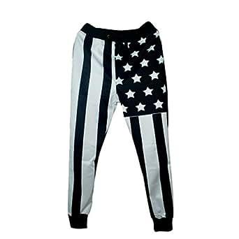 Cool joggers pants Black Striped Sport sweatpants for men/women hip hop trousers (S)