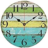 "Eruner 14-inch Vintage Wood Wall Clock - Colorful Ocean Stripe Design France Paris Retro Style Non-Ticking Silent Wooden Wall Clock (#10, 14"")"