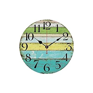 Eruner 14-inch Vintage Wood Wall Clock - Colorful Ocean Stripe Design France Paris Retro Style Non-Ticking Silent Wooden Wall Clock (#10, 14 )