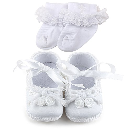 OOSAKU Baby Girl Christening Baptism Flower Lace Shoes Dance Ballerina Sneakers (9-12 Months, Shoes & Socks)