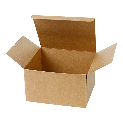 - LaRibbons 20Pcs Recycled Gift Boxes - 5 x 5 x 3 inches Brown Paper Box Kraft Cardboard Boxes with Lids for Party, Wedding, Gift Wrap