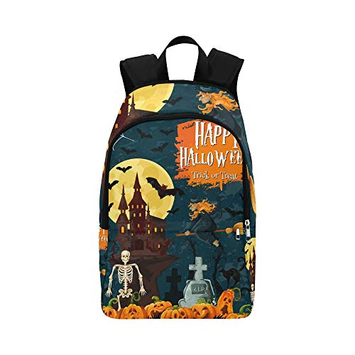 YSWPNA Halloween Trick Treat Greeting Card Spooky Casual Daypack Travel Bag College School Backpack for Mens and Women -