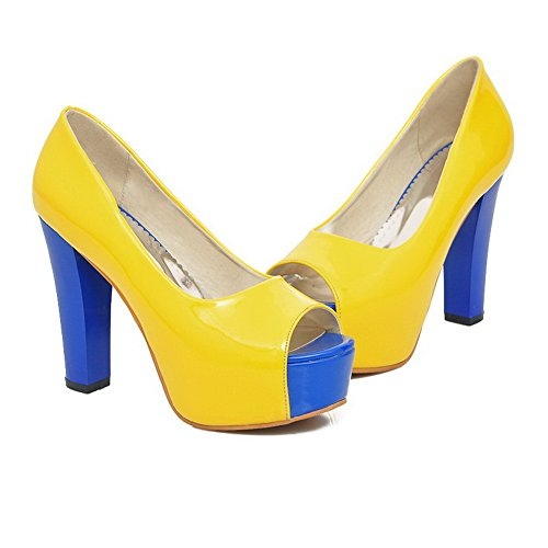 AmoonyFashion Womens Open Peep Toes High Heel Platform Chunky Heels PU Assorted Colors Pumps Yellow jSBLCBhzZF