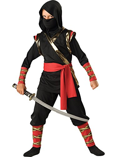 InCharacter Costumes Boys 8-20 Ninja Hoody Costume Black, 8 ()