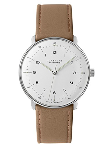 Junghans Men's 'Max Bill' Automatic Stainless Steel and Leather Dress Watch, Color:Beige (Model: 027/3502.00)