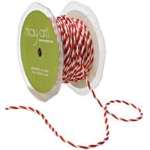May Arts 1/4-Inch Wide Ribbon, Red and White Twisted Rope