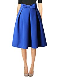 Womens 50s Vintage Skirt Knee Length High Waist Pleated...
